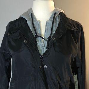 No Boundaries Jackets & Coats - Black Windbreaker Jacket with Gray Hood